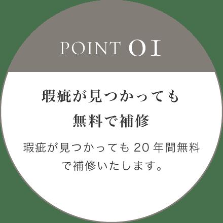 POINT 01 瑕疵が見つかっても無料で補修 瑕疵が見つかっても20年間無料で補修いたします。